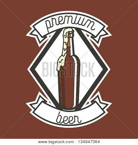 Color vintage beer brewery emblem. Beer labels vector set. Beer badge, alcohol beer, lager beer bottle, beverage beer label illustration