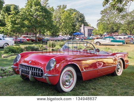 DEARBORN MI/USA - JUNE 18 2016: A 1955 Chevrolet Corvette car at The Henry Ford (THF) Motor Muster car show, held at Greenfield Village, near Detroit, Michigan.