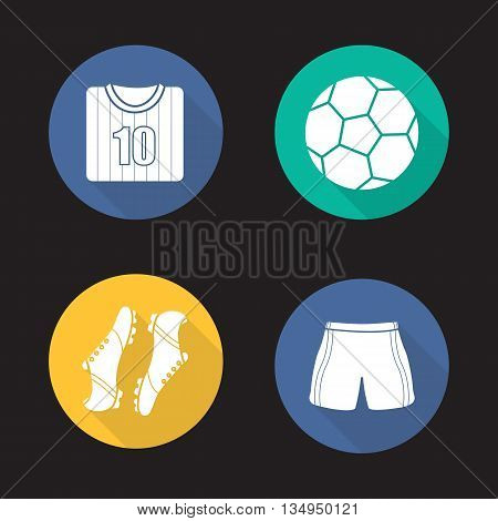Football accessories flat design long shadow icons set. Soccer ball, football player's shirt, boots and shorts. Vector symbols