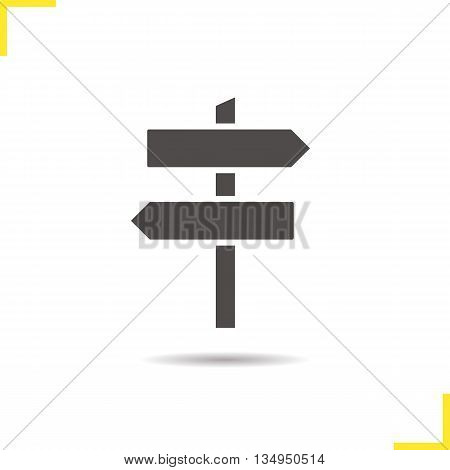 Signpost icon. Drop shadow wooden way direction silhouette symbol. Guidepost. Vector isolated illustration