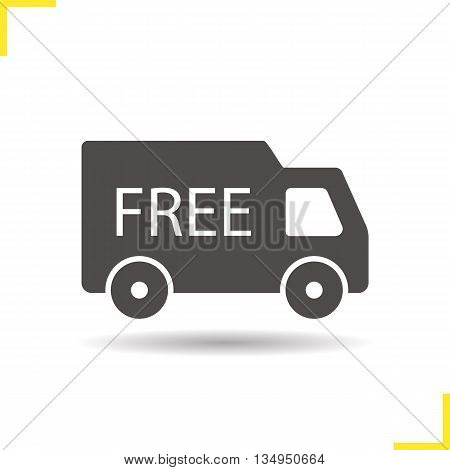 Free delivery icon. Drop shadow delivery van silhouette symbol. Goods transportation truck. Vector isolated illustration