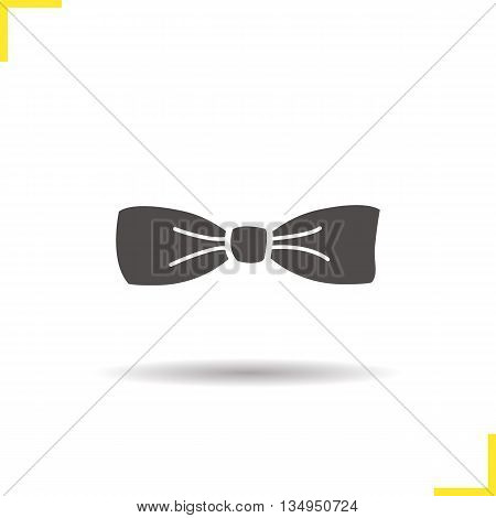 Bow tie icon. Drop shadow tuxedo butterfly tie silhouette symbol. Men's classic fashion accessory. Vector isolated illustration