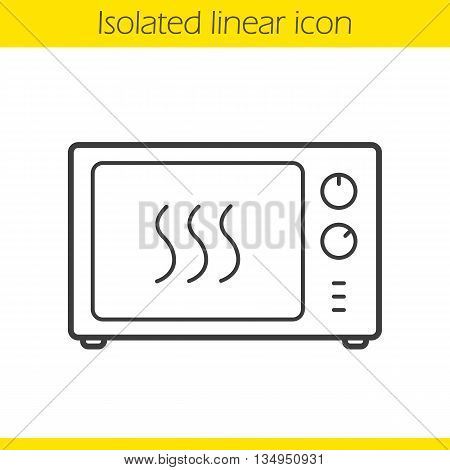 Microwave oven linear icon. Thin line illustration. Microwave stove contour symbol. Vector isolated outline drawing