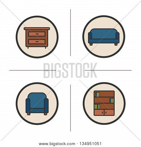 Furniture icons set. Chest of drawers, couch, armchair and bookcase illustrations. Interior items isolated vector chalkboard drawings