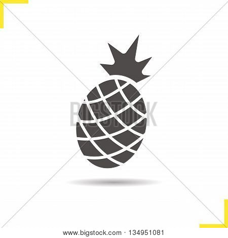 Pineapple icon. Drop shadow silhouette symbol. Pineapple fruit. Vector isolated illustration