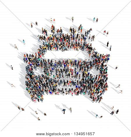 Large and creative group of people gathered together in the shape of a police car . 3d illustration, isolated, white background.