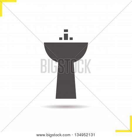 Sink icon. Drop shadow washbasin silhouette symbol. Ceramic washbowl. Vector isolated illustration