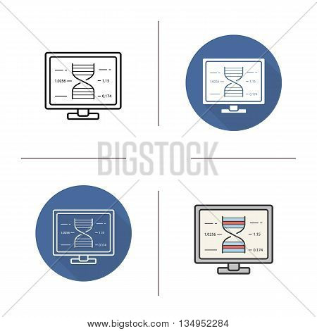 Human genome project icon. Flat design, linear and color styles. Dna strand research formula isolated vector illustrations