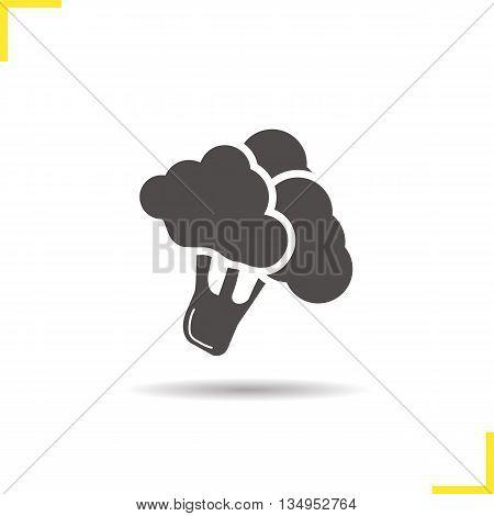 Broccoli icon. Drop shadow silhouette symbol. Brocolli. Vector isolated illustration
