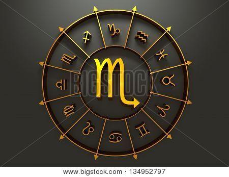 Scorpion astrology sign. Golden astrological symbol. 3D rendering