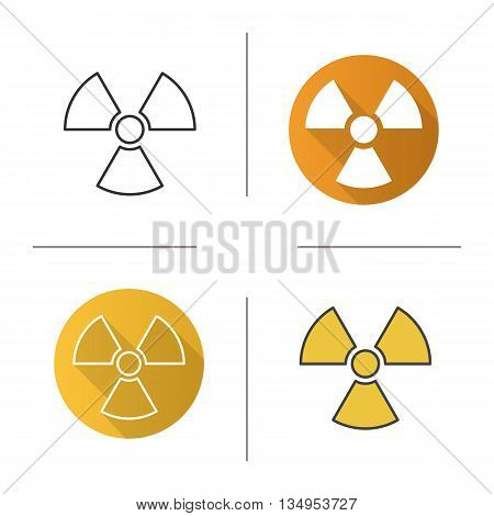 Radiation sign icon. Flat design, linear and color styles. Radioactive danger symbol. Nuclear energy isolated vector illustrations