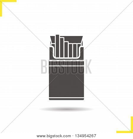 Opened cigarette pack icon. Drop shadow silhouette symbol. Cigar box vector isolated illustration