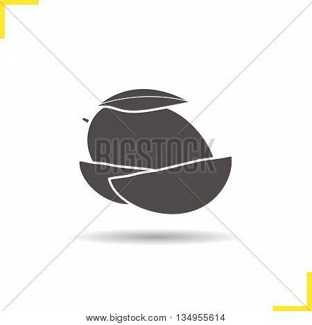 Mango icon. Drop shadow silhouette symbol. Mango slices vector isolated illustration