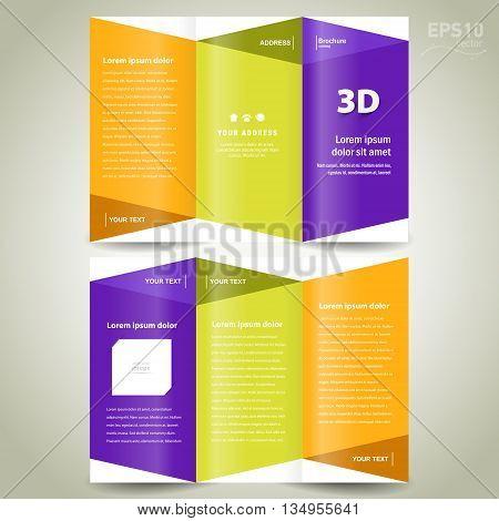 brochure design template 3d dimensional folder leaflet colored element white background