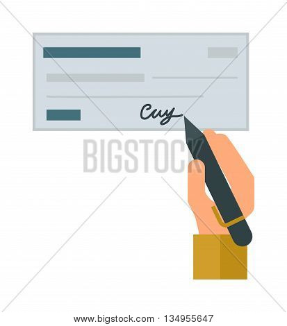 Retro money check gift certificate white background. Good money check design. Customizable money check and people hand with pen. Money check bank financial paper cheque payment vector blank.
