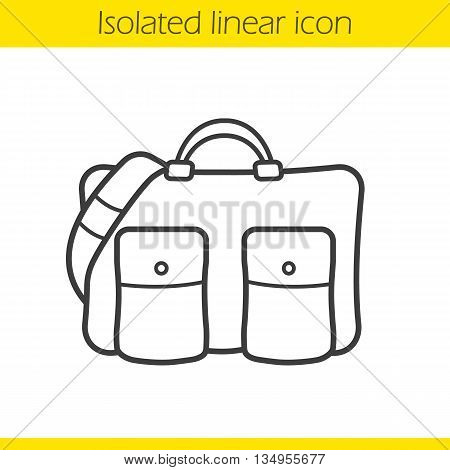 Handbag linear icon. Men's business trip accessory thin line illustration. Men's handbag contour symbol. Vector isolated outline drawing