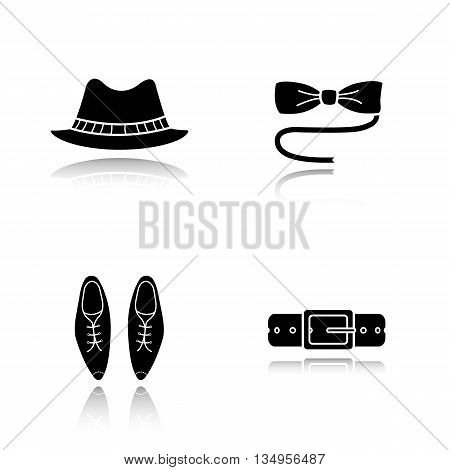 Men's accessories drop shadow black icons set. Homburg hat, butterfly tie, classic shoes and leather belt. Isolated vector illustrations