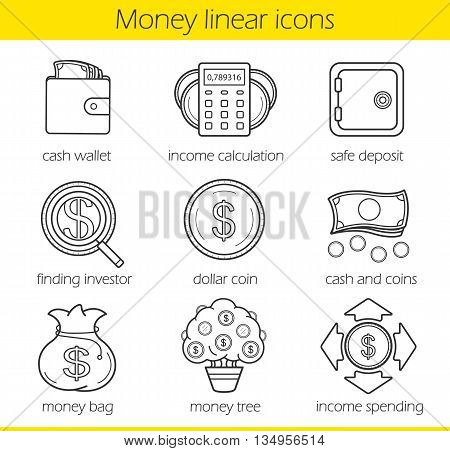Money linear icons set. Cash wallet, income calculation and safe deposit. Money bag, income spending, dollar coin, finding investor and money tree. Thin line. Isolated vector illustrations