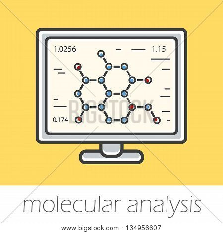 Substance molecular structure research color icon. Chemical scientific project. Vector isolated illustrations