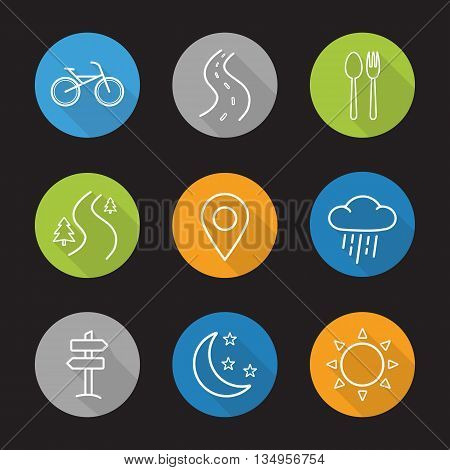 Camping flat linear long shadow icons set. Bike, highway, fork and spoon, forest road, pinpoint, rain, signpost, moon with stars and sun. Vector line symbols