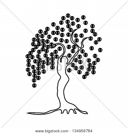 Money tree with coins icon in outline style on a white background