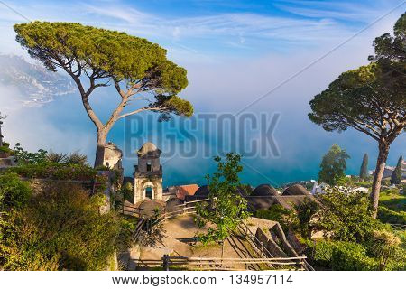 Amazing View From Villa Rufolo, Ravello Town, Amalfi Coast, Campania, South Of Italy