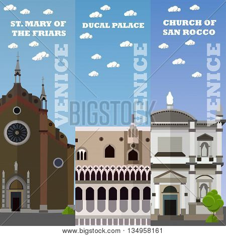 Venice tourist landmark banners. Vector illustration with Italian famous buildings. Travel to Italy concept.