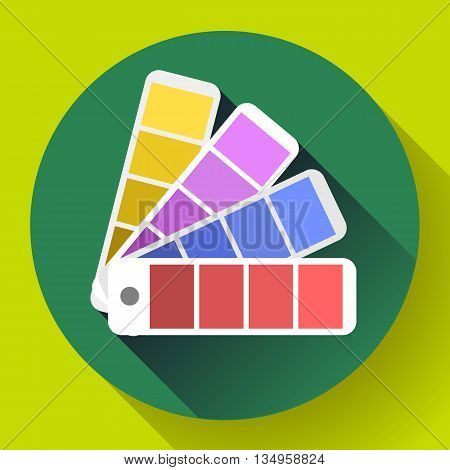 Color guide swatches palette - typographic fan icon. Flat design style poster