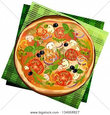Pizza with mushroom and tomato, chilli, herbs on board on napkin on white background isolated. Illustration for pizza menu or pizzeria interior design. Vector illustration stock vector.