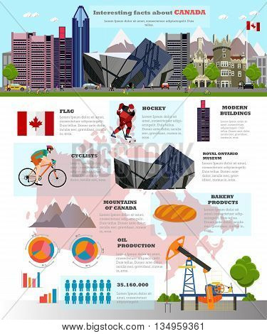Travel to Canada concept vector illustration. Infographic elements, icons and interesting facts about Canada. Canadian landmarks and destinations.