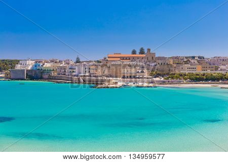 Beautiful Town Of Otranto And Its Beach, Salento Peninsula, Puglia Region, Italy