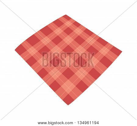 Red folded tablecloth isolated on white. Tablecloth background red seamless pattern.Illustration of traditional gingham dining cloth with fabric texture. Checkered picnic cooking tablecloth.