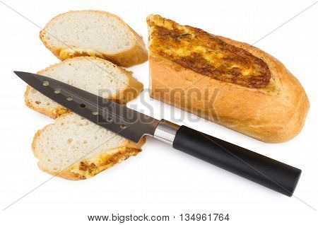 Pieces Of Baguette With Garlic And Cheese And Kitchen Knife