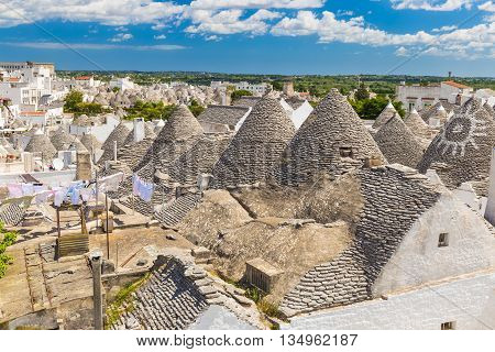 Generic view of Alberobello with trulli roofs and terraces Apulia region Southern Italy