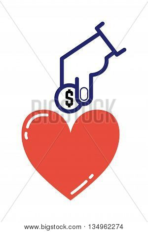 Donate hand healthcare, medicine and blood donation concept. Donate hand female donates money red heart with donor sign over white background. Vector donate health heart volunteer concept.