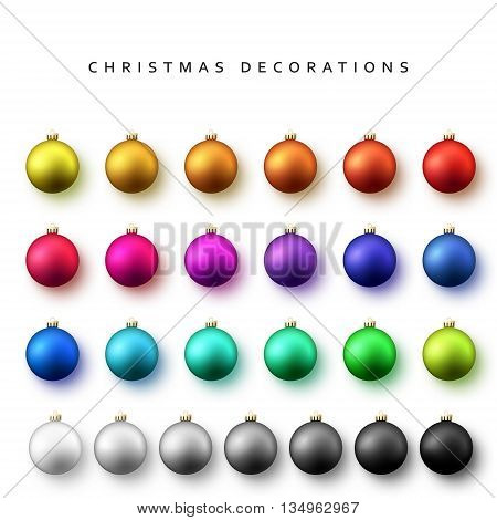 Set of bright Christmas balls for Christmas cards design. Realistic isolated Christmas balls. Christmas decorations colored balls.