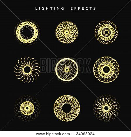 Set of lighting isolated effect. Round lighting effects. Magic, bright, brilliant patches of light. Effect for background and design. Light patches of light. Set of effects. Realistic effect.
