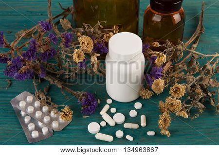 Workplace Of Doctor -  Bottle, Flower And Pils