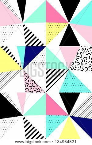 Vector seamless geometric pattern. Memphis Style. Abstract 80s. Bright Colors