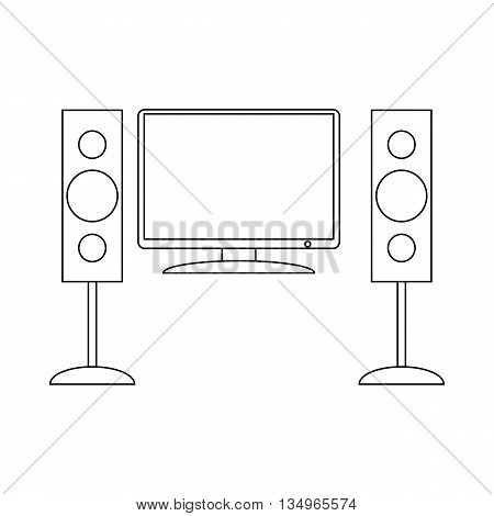 Home cinema with sound speaker icon in outline style on a white background