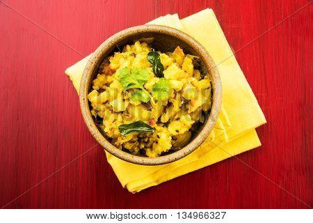 indian semi dry potato spicy recipe also known as aalu bhaji or aalu sabji or batata bhaji