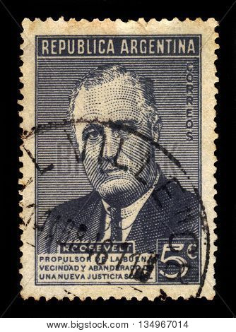 ARGENTINA - CIRCA 1946: a stamp printed in the Argentina shows Franklin Delano Roosevelt, 32nd President of the United States, circa 1946