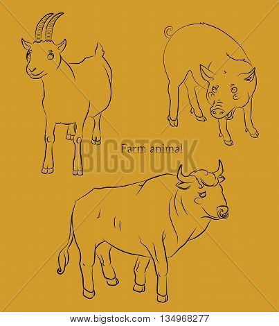 black and white image of a bull, pig and goat - suitable for a child's coloring, and not only. For your convenience, each significant element is in a separate layer.