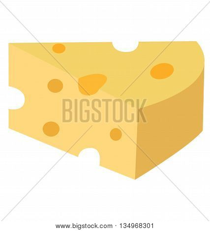 A delicious slice of cheese - a simple image, suitable for icons