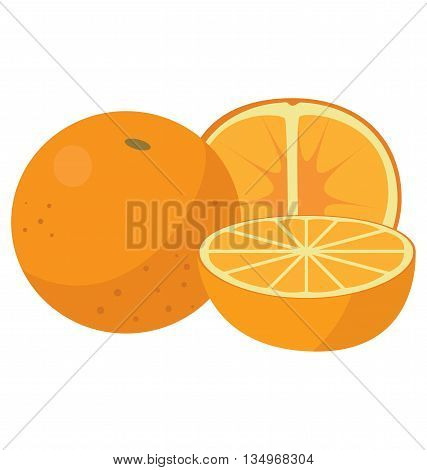 Three oranges: the whole fruit, cut lengthwise and sliced crosswise. For your convenience, each significant element is in a separate layer
