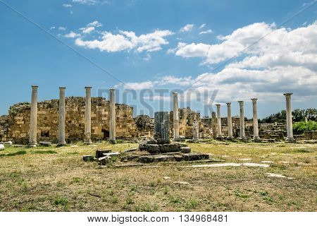 May 24 2016.Famagusta.Ruins and ancient columns in the ancient city of Salamis in Famagusta.Northern Cyprus.