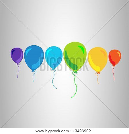 Six balloons multicolor Flying colorful balloons with ropes on a gray background