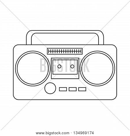 Boom box or radio cassette tape player icon in outline style on a white background