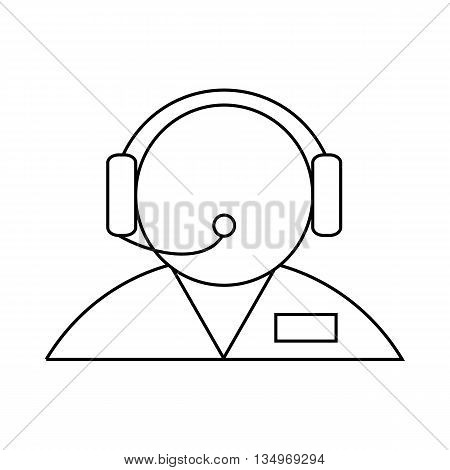 Customer support operator with a headset icon in outline style on a white background