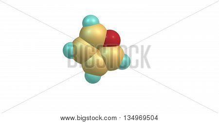 Furan is a heterocyclic organic compound consisting of a five-membered aromatic ring with four carbon atoms and one oxygen. 3d illustration